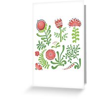 Set of symmetrical floral graphic design elements Greeting Card