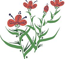 Set of symmetrical floral graphic design elements by OlgaBerlet