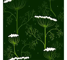 Elegance Seamless pattern with flowers, vector floral illustration in vintage style, Ukraine, dill Photographic Print