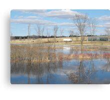 River Floods The Farmlands Canvas Print