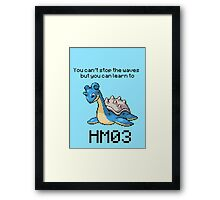 Lapras #131 You can't stop the waves but you can learn to SURF!  Framed Print