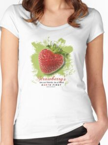 strawberrys are our friends Women's Fitted Scoop T-Shirt