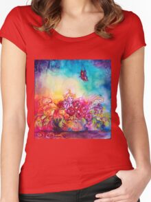 THUMBELINA,FLOWER BASKET AND BUTTERFLY Women's Fitted Scoop T-Shirt