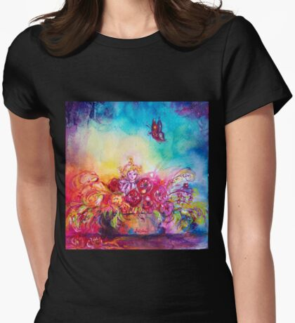 THUMBELINA,FLOWER BASKET AND BUTTERFLY Womens Fitted T-Shirt