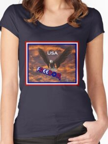 Patriotic USA Freedom Eagle T Shirt Women's Fitted Scoop T-Shirt