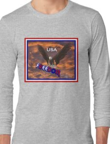 Patriotic USA Freedom Eagle T Shirt Long Sleeve T-Shirt
