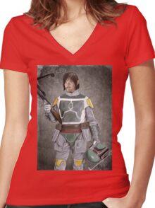 Daryl Fett : Zombie Hunter (Variant A) Women's Fitted V-Neck T-Shirt