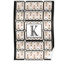 1920s Pink Champagne Gatsby Monogram letter K Poster