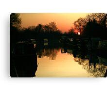 Sunset Over Willington Moorings Canvas Print