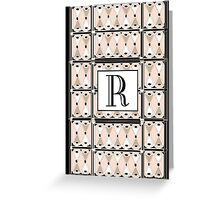 1920s Pink Champagne Gatsby Monogram letter R Greeting Card