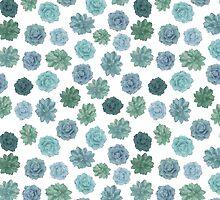 green succulent pattern by MartaOlgaKlara