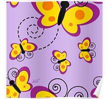 Yellow & Purple Butterflies Poster