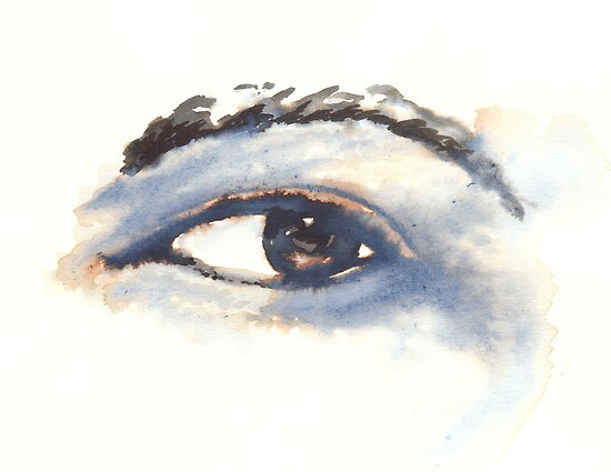 Quink Ink Study of Left Eye, Black ink and water on 200gsm paper by Gibson