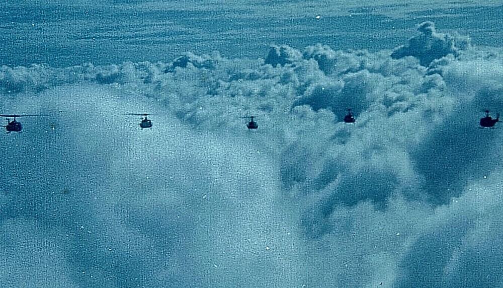 """VFR ON TOP 6 SHIP HUEY """"V"""" FORMATION OVER VIETNAM 1970 by Charles Lee Emerson, Author, Minister, Poet, Publisher"""
