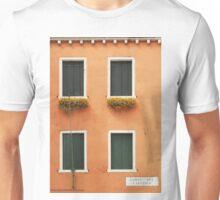 Orange Venetian Building and Green Windows Unisex T-Shirt