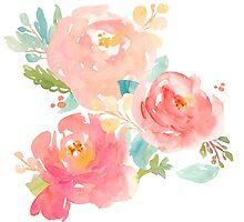 Peonies Watercolor Bouquet by junkydotcom