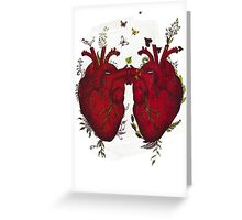 two hearts beating as one Greeting Card