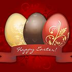 Easter Eggs Gold Decorated - Red by ruxique