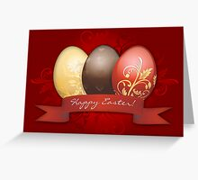 Easter Eggs Gold Decorated - Red Greeting Card