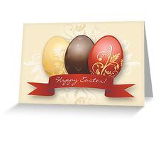 Easter Eggs Gold Decorated - Yellow Greeting Card