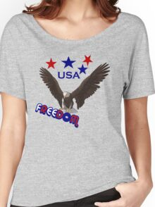 Patriotic Freedom USA Eagle Stars T Shirt Women's Relaxed Fit T-Shirt