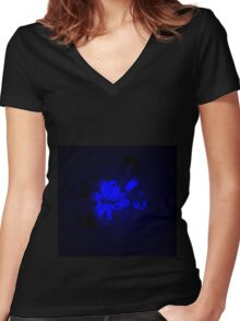 Mysterious Blue Irish Abstract Design Women's Fitted V-Neck T-Shirt