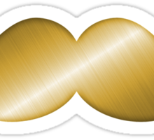 Faux Gold Brass Brushed Metal Mustache 6 Sticker