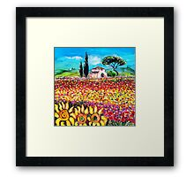 FLORA IN TUSCANY/ Fields ,Poppies and Sunflowers Framed Print