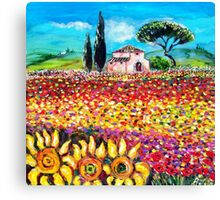 FLORA IN TUSCANY/ Fields ,Poppies and Sunflowers Canvas Print