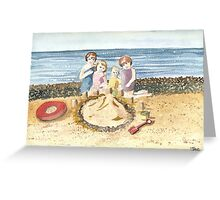Building a Sand Castle. Greeting Card