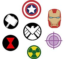 Avengers pins Photographic Print