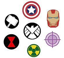 Avengers pins by xbumblebee