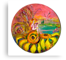FAIRY OF THE SUNFLOWERS PLAYING LYRA Canvas Print