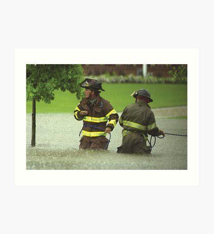 Firefighters rescue stranded motorists Art Print