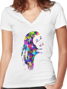 Flower Girl Women's Fitted V-Neck T-Shirt