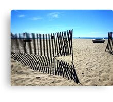 Symmetrical Fence Silhouette at the Beach Canvas Print
