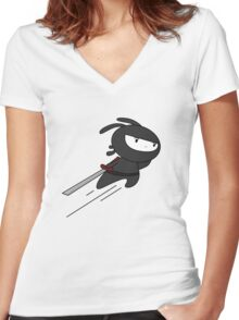 ninja bunny Women's Fitted V-Neck T-Shirt