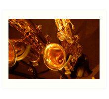 Golden Saxophones Art Print