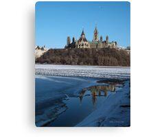 Canada Parliament Buildings Ottawa River Canvas Print