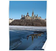 Canada Parliament Buildings Ottawa River Poster