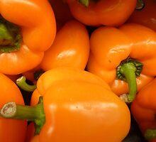 Orange Peppers by WildestArt