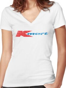 Vintage 80's 90's K-Mart Logo Distressed Women's Fitted V-Neck T-Shirt