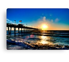 Sunset @ Sharkys Pier - Venice Beach, Florida Canvas Print