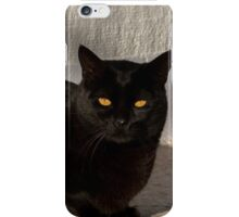 Black cat with intense yellow eyes iPhone Case/Skin