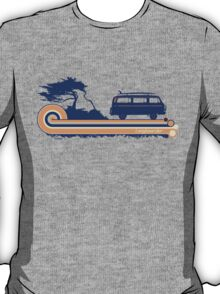 'Longboard' Surf Retro Design in Navy & Orange T-Shirt