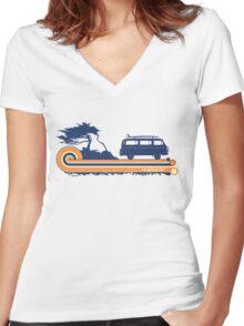 'Longboard' Surf Retro Design in Navy & Orange Women's Fitted V-Neck T-Shirt