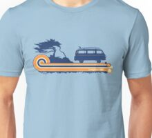 'Longboard' Surf Retro Design in Navy & Orange Unisex T-Shirt
