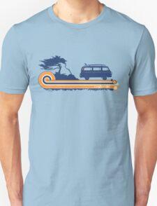 'Longboard' Surf Retro Design in Navy & Orange T-Shirt