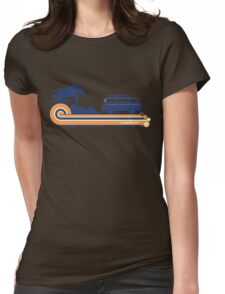'Longboard' Surf Retro Design in Navy & Orange Womens Fitted T-Shirt