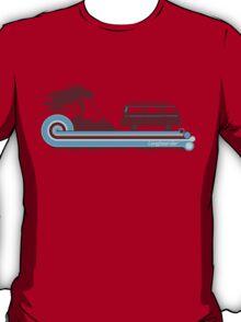 'Longboard' Surf Retro Design in Maroon & Aqua T-Shirt